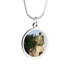 Pictured Rocks C Silver Round Necklace