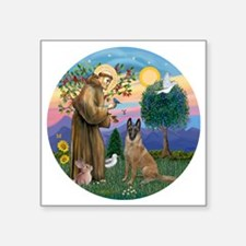 """St Francis and Belgian Mali Square Sticker 3"""" x 3"""""""
