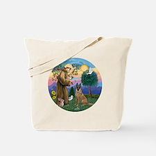 St Francis and Belgian Malinois Tote Bag