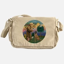 St Francis and Belgian Malinois Messenger Bag