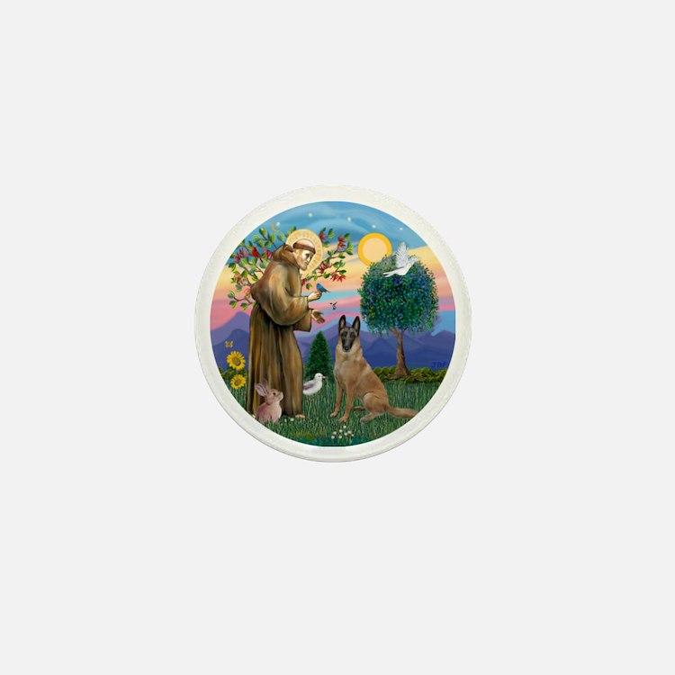 St Francis and Belgian Malinois Mini Button