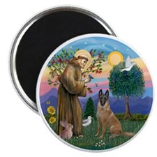 St Francis and Belgian Malinois Magnet