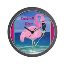 Flamingo Cocktail Hour Wall Clock