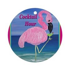 Flamingo Cocktail Hour Round Ornament