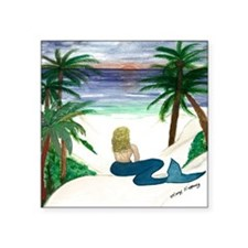 "Blond Mermaid Square Sticker 3"" x 3"""
