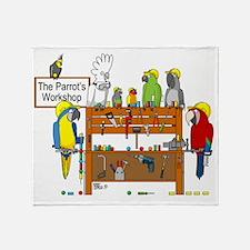 The Parrot's Workshop Logo Throw Blanket