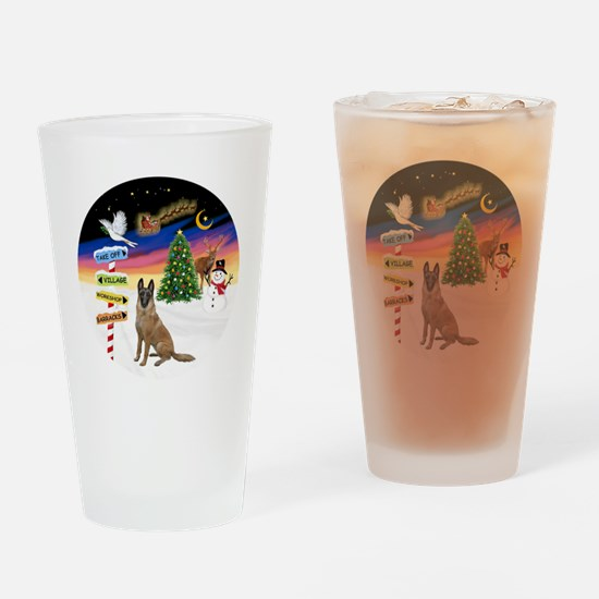 XmasSigns-BelgianMalinois Drinking Glass