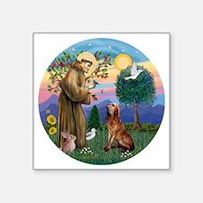 "St. Francis - Bloodhound Square Sticker 3"" x 3"""