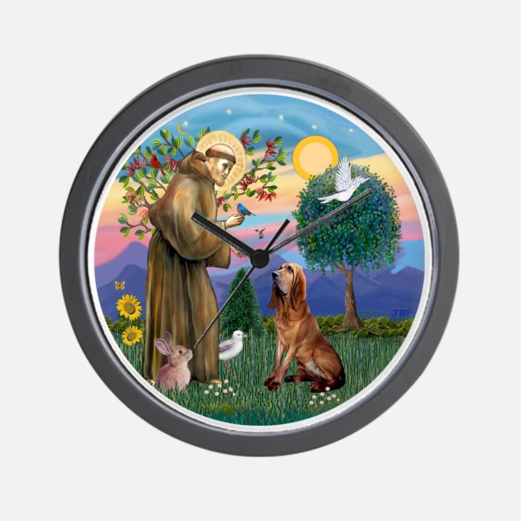 St. Francis - Bloodhound Wall Clock