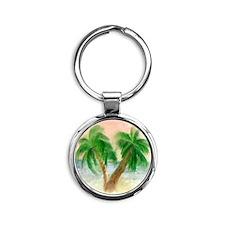 Twin Palms Round Keychain