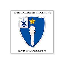 """DUI - 2nd Battalion - 46th  Square Sticker 3"""" x 3"""""""
