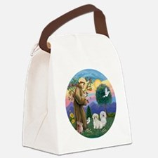 R-StFrancis-TWO Coton de Tulears Canvas Lunch Bag