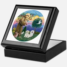 R-StFrancis-TWO Coton de Tulears Keepsake Box