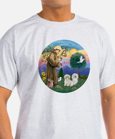 R-StFrancis-TWO Coton de Tulears T-Shirt