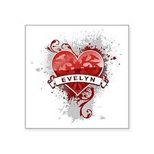 "Love Evelyn Square Sticker 3"" x 3"""