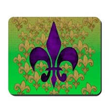 Purple and Gold fleur de lace Mousepad