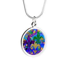 Mardi Gras Psycadelic Silver Round Necklace