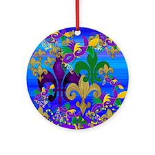 Mardi Gras Psycadelic Round Ornament