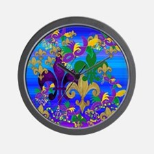 Mardi Gras Psycadelic Wall Clock