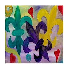 Mardi Gras Fleur de lis Tile Coaster