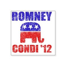 """Romney Condi 2012 Square Sticker 3"""" x 3"""""""