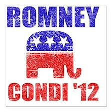 """Romney Condi 2012 Square Car Magnet 3"""" x 3"""""""