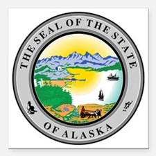 "Alaska State Seal Square Car Magnet 3"" x 3"""