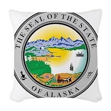 Alaska State Seal Woven Throw Pillow