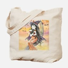Kiss of October Witch and Black Cat Tote Bag