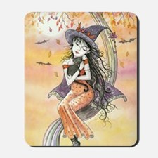 Kiss of October Witch and Black Cat Mousepad
