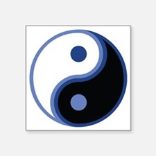 "Yin Yang, Blue Square Sticker 3"" x 3"""