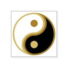 "Yin Yang, Gold Square Sticker 3"" x 3"""