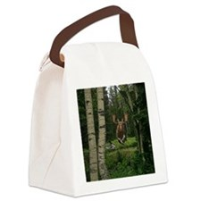 Moose at water hole Canvas Lunch Bag