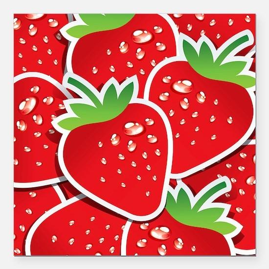"Strawberries Square Car Magnet 3"" x 3"""
