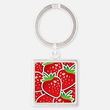 Strawberries Square Keychain