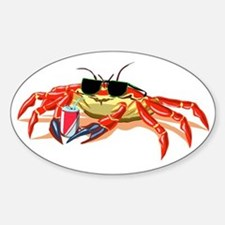 Cool Cancer Crab Oval Decal