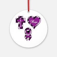 CF Faith Hope Cure Sq Round Ornament