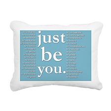 just be you (blue) Rectangular Canvas Pillow