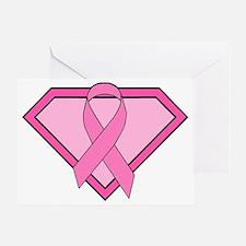 Superhero Shield Pink Ribbon Greeting Card