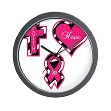 Pink Faith Hope Cure Sq Wall Clock