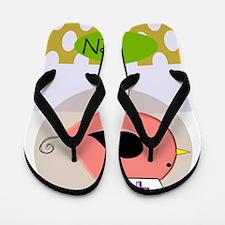 RN bird green yellow Flip Flops