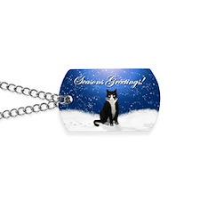 Tuxedo Cat Seasons Greetings Dog Tags