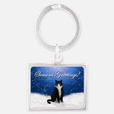 Tuxedo Cat Seasons Greetings Landscape Keychain