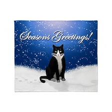 Tuxedo Cat Seasons Greetings Throw Blanket