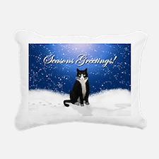 Tuxedo Cat Seasons Greet Rectangular Canvas Pillow