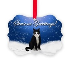 Tuxedo Cat Seasons Greetings Ornament
