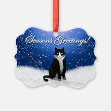 Tuxedo Cat Seasons Greetings Ornament