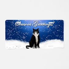 Tuxedo Cat Seasons Greeting Aluminum License Plate