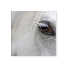 "PUZZLE - White Horse Square Sticker 3"" x 3"""