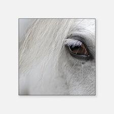 """PUZZLE - White Horse Square Sticker 3"""" x 3"""""""
